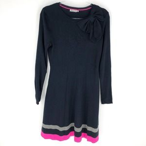 Eliza J Sweater Dress Navy with Pink and Gray Trim